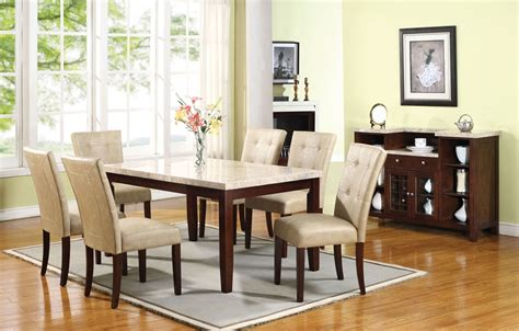 Marble Table Top Dining Set White Marble Top Dining Table Set Pu Leather Chairs 7pc
