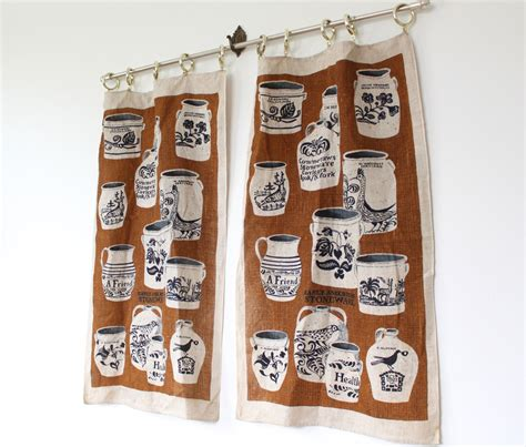 rustic kitchen curtains vintage cafe curtains 1960s kitchen by luncheonettevintage