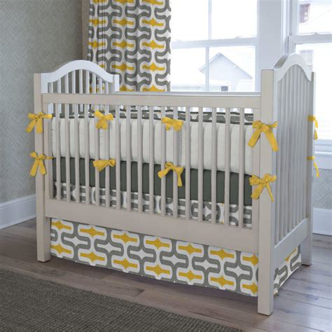 Contemporary Crib Bedding Gray And Yellow Embrace Crib Bedding Contemporary Atlanta By Carousel Designs