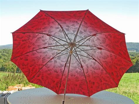 flower pattern umbrella 1950s french umbrella with splashy red pink and white
