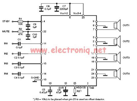 Ic Tda7388 By Bakul Elektronik tda7850 audio lifier electronic circuit circuit diagram