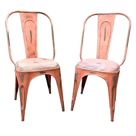 Metal Bistro Chairs 1950s Metal Industrial Stacking Caf 233 Bistro Chairs In For Sale At 1stdibs