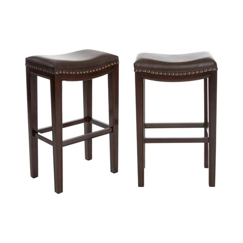 Brown Backless Bar Stools by Noble House Avondale 30 In Brown Backless Bar Stool Set
