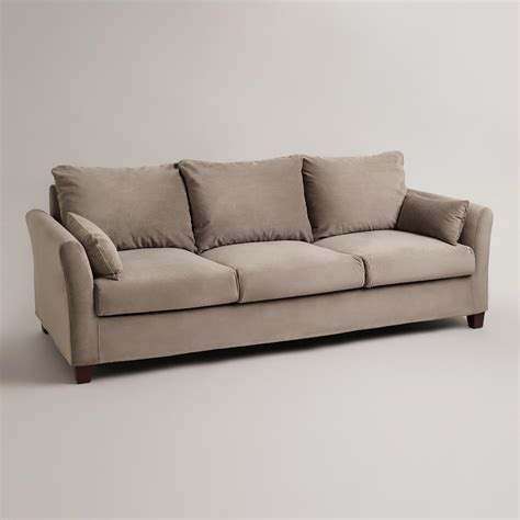 world market couch gray mink velvet luxe 3 seat sofa slipcover world market