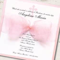 baptism invitation christening pink ribbon