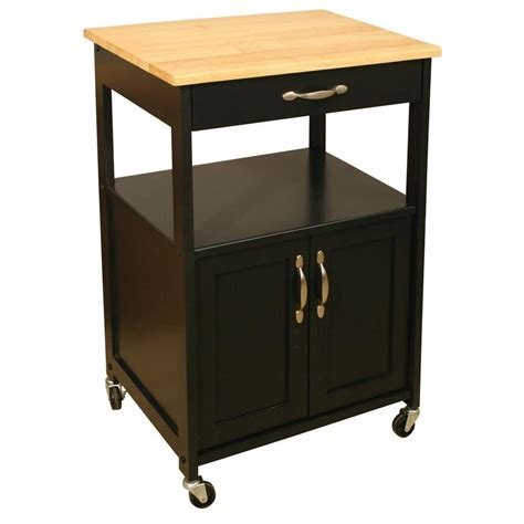 catskill craftsmen black kitchen cart with storage 80696