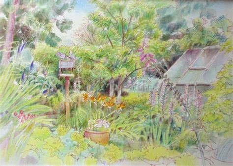 drawing of garden pastels and pencils houses gardens sketches and