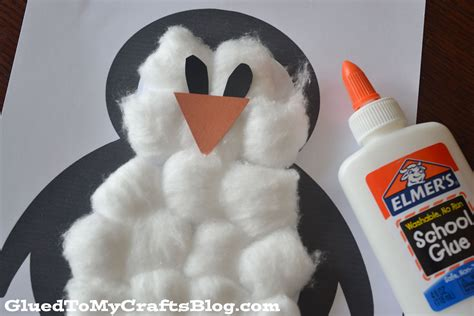 cotton ball penguin kid craft construction paper