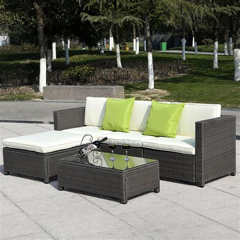 Outdoor Patio Sectional Furniture 5pc Outdoor Patio Sofa Set Furniture Pe Wicker Rattan Deck Gradient Brown Ebay