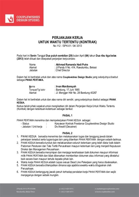 contoh surat agreement cara ku mu