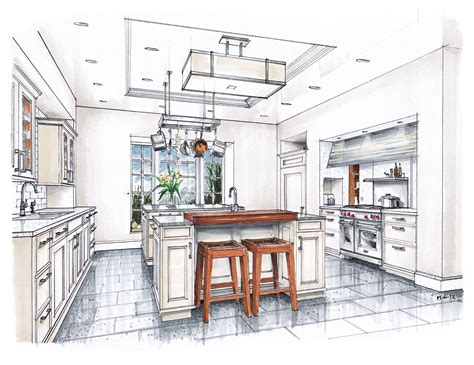 Sketch Interior Design New Beaux Arts Kitchen Rendering Sketches Interior