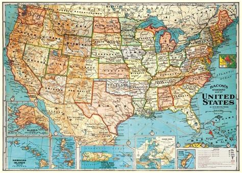 usa size map vintage map of the united states parchment poster print