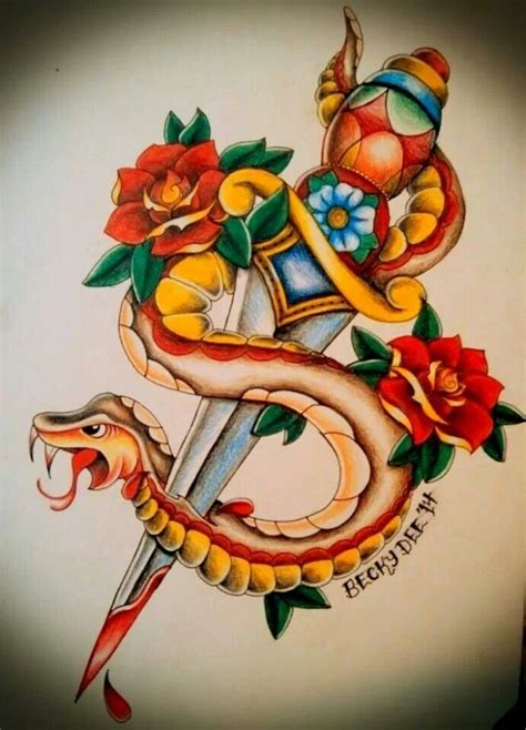american traditional snake and dagger by becky dee art