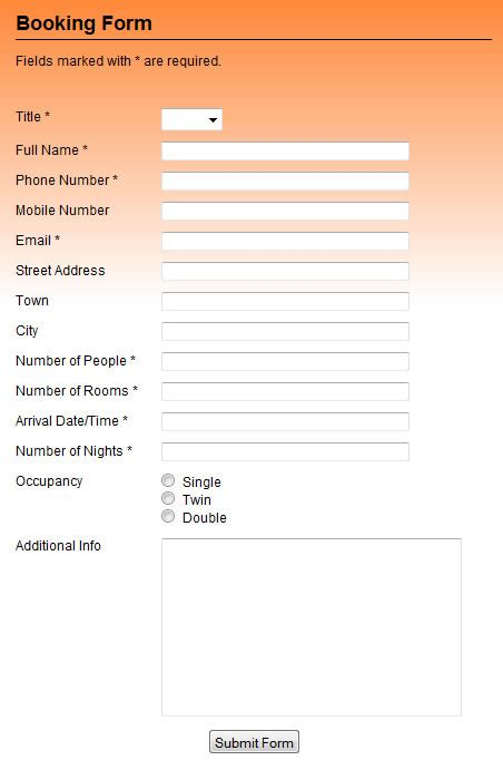booking form template free booking forms professional booking form template scripts