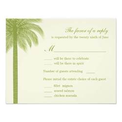 response cards for wedding palm wedding rsvp response cards green