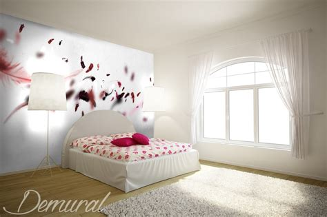 pink wallpaper for bedrooms uk a pink feather quilt bedroom wallpaper mural photo