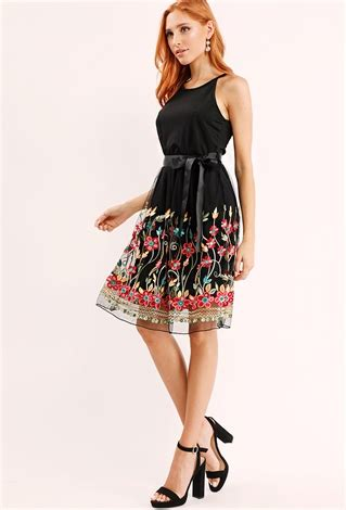 Floral Embroidered A Line Dress floral embroidered tulle a line dress shop floral