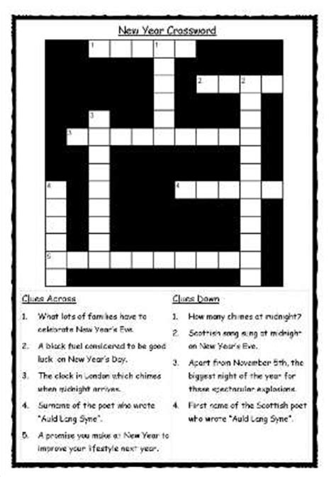 new year activity sheets ks2 new year crossword