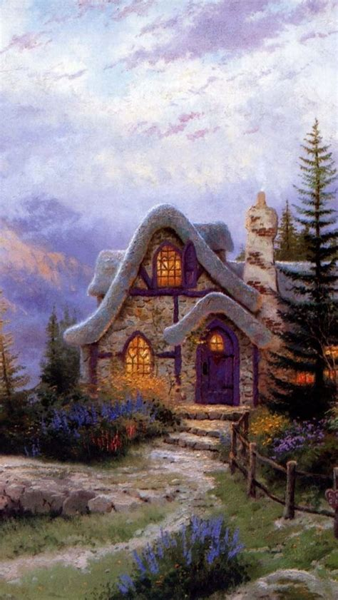 Sweetheart Cottage Thomas Kinkade Art Pinterest Cottage Paintings By Kinkade