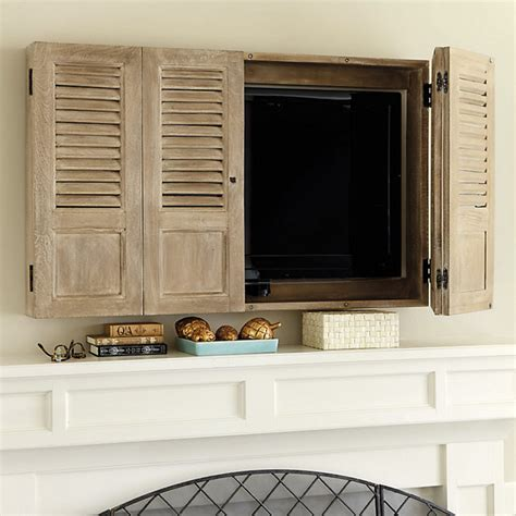 Wall Hung Tv Cabinet With Doors Shutter Tv Wall Cabinet Traditional Entertainment Centers And Tv Stands By Ballard Designs