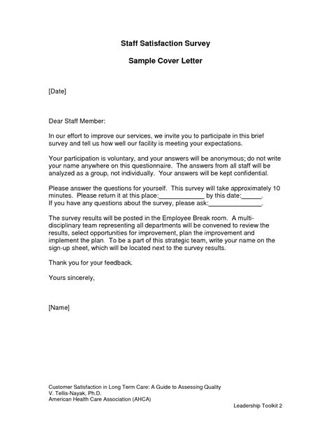 Cover Letter For Questionnaire Surveys by Customer Satisfaction Survey Cover Letter The Letter Sle