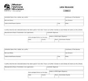 Vehicle Release Form Template by 11 Sle Lien Release Forms Sle Forms