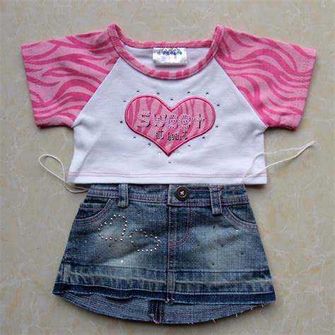 Denim Skirt With T Shirt 14 Teddy In Country pink t shirt denim skirt clothes set for build a teddy duffy monchhichi plush