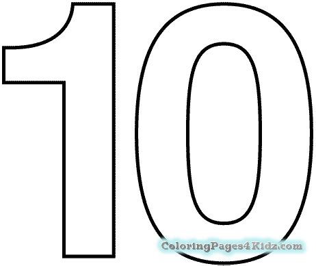 Coloring Page Number 10 by Number 10 Coloring Page Coloring Pages For