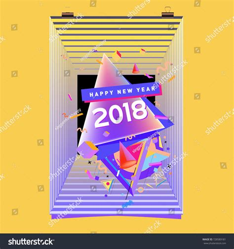 new year calendar with elements happy new year 2018 colorful abstract stock vector