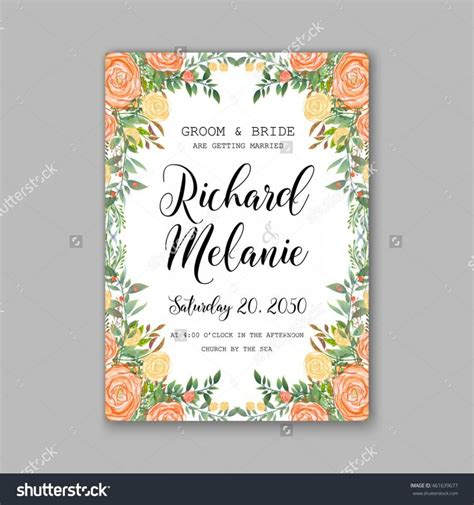 Invitation Letter Vector Wedding Invitation Or Card With Tropical Floral Background