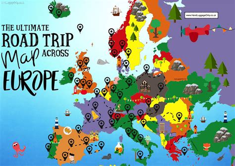 map usa europe the complete europe road trip map 49 places to visit and