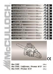 California Owners Manual Mcculloch Mac 538e 540e 545e California Promac 40 46