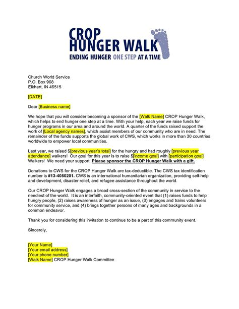 business sponsorship letter template business sponsorship request letter crop hunger walk