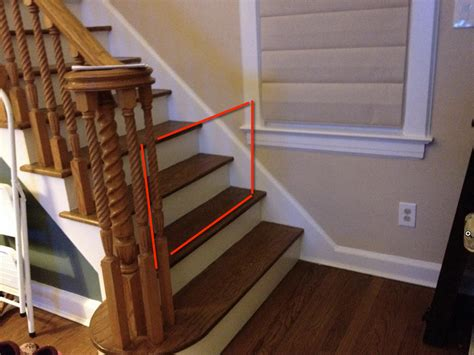 Wooden Stair Banisters Baby Gate Suggestions For Unusual Bottom Of Stairs Daddit
