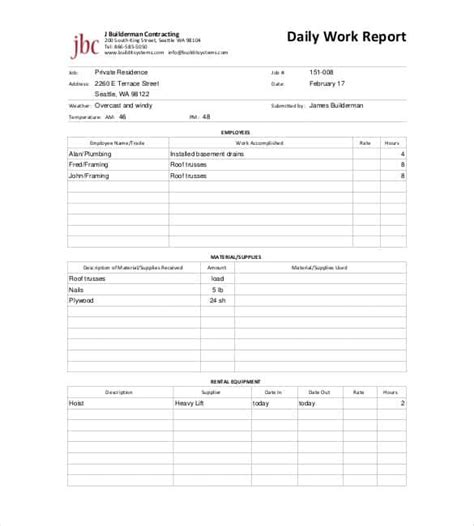daily report template 58 free word excel pdf