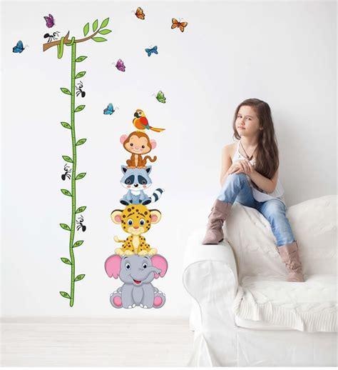 Vinyl Hewan Isi 6 lucu hewan harimau tumpukan up mengukur ketinggian stiker dinding decal anak anak perekat vinyl