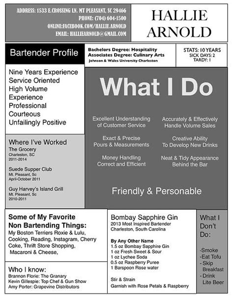 professional bartender server templates to showcase your talent