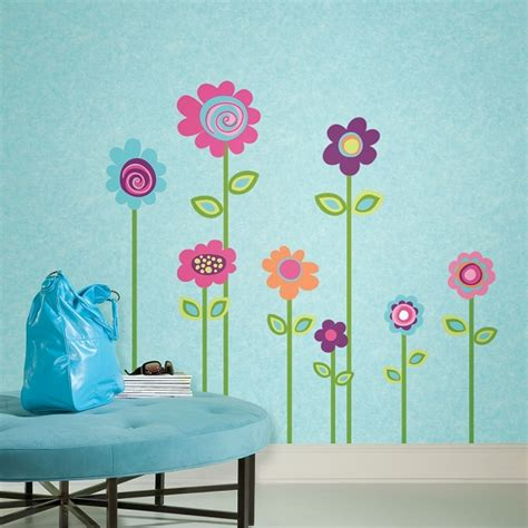 flowers wall stickers flower stripe wall decals for dorms free shipping