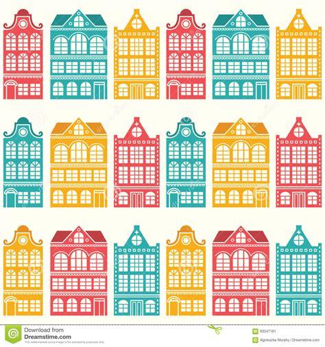 pattern design netherlands seamless house pattern dutch amsterdam houses mid