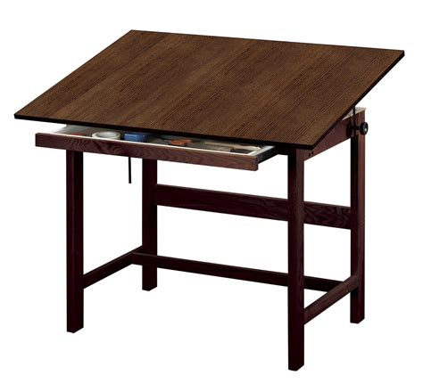 wooden art desk save on discount alvin titan drafting table with drawer