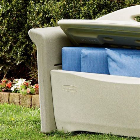 rubbermaid patio storage bench amazon com rubbermaid outdoor patio storage bench 4 cu