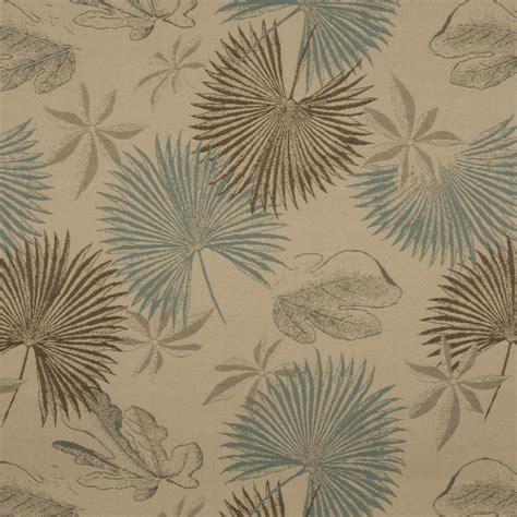 brown and tan solid woven outdoor upholstery fabric by the tan brown and teal floral leaves woven outdoor upholstery
