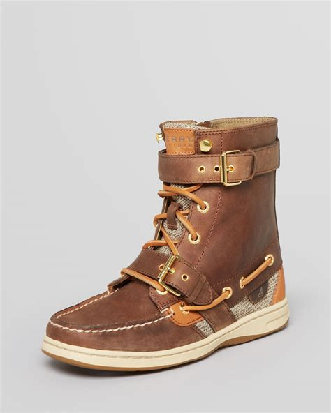 sperrys boots lyst sperry top sider lace up boots huntley in brown