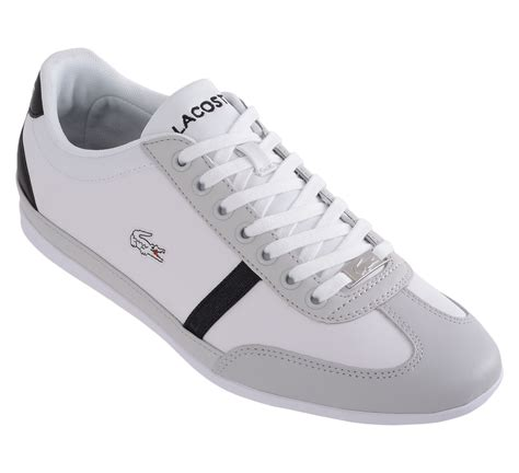 lacoste flat shoes new mens lacoste misano sport scy white grey leather