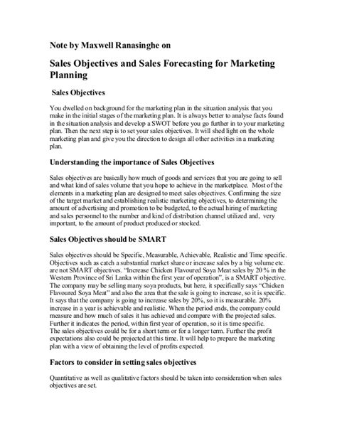 sle of goals and objectives sales objectives and sales forecasting
