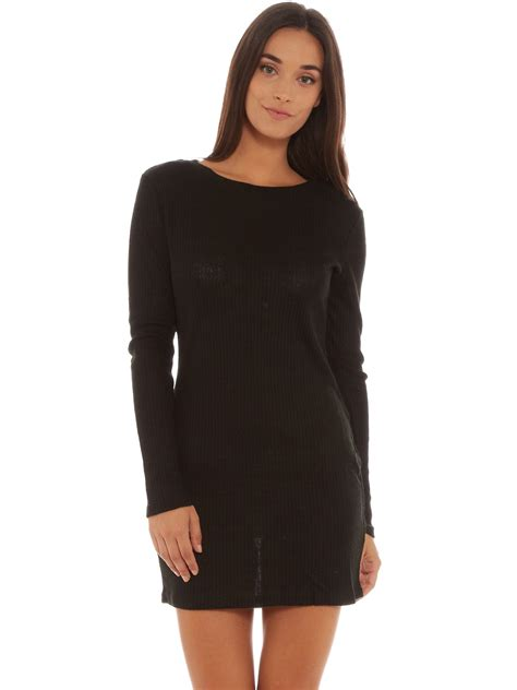 knit bodycon dress glamorous sleeve bodycon knit dress in black