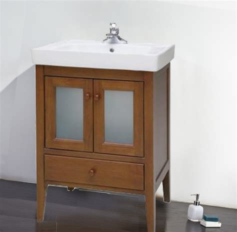light brown wooden vanity with shelf also white sink