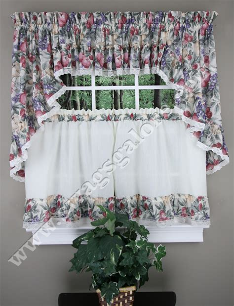 fruit curtains harvest fruit ruffled tier swag valance curtains