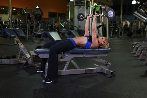 bench press with ez curl bar lying close grip barbell triceps press to chin exercise