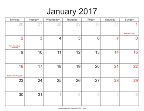 2017 Calendar With Holidays Printable Free 2017 Calendar With Holidays Printable Calendar
